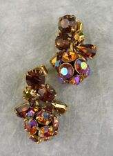 "NEW J. CREW IRIDESCENT CRYSTAL CLUSTER DROP DANGLE EARRINGS AMBER 1-1/8""L x 7/8"""