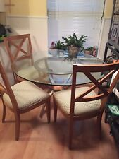 Ethan Allen Radius Collection Round Glass Dinning Table With 4 Chairs
