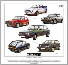 VOLKSWAGEN GOLF GTi Mk1/2 - ART PRINT - Cabriolet Campaign 8V & 16V illustrated
