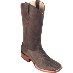 Los Altos SUEDE BROWN Genuine PYTHON SNAKE Western Cowboy Boot Square Toe D