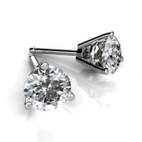 1.00 Ct VVS1 Round Cut Solitaire Diamond Earring Stud 14K Real White Gold Studs