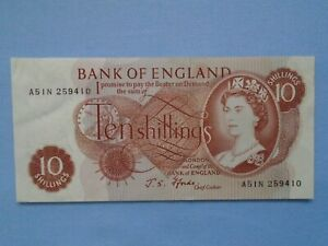 Bank of England RARE note 10 shillings IN EXCELLENT CLEAN CRISP CONDITION