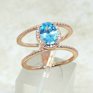 TRENDY 1 CT AQUAMARINE BLUE ROSE GOLD PLATED 925 STERLING SILVER RING SIZE 5-10