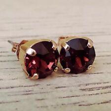 Burgundy Garnet Gold Plated Stud Earrings w/ Swarovski® Crystals