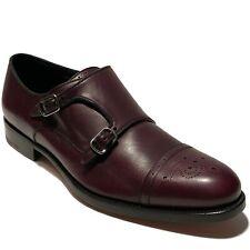 NEW FERRAGAMO Brown Double Monk Strap 9 EE 42 Men's Leather Brogue Oxford Dress