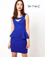 A Wear Blue Cut Out Peplum Dress in Cobalt Size UK6/ EU34/ US2