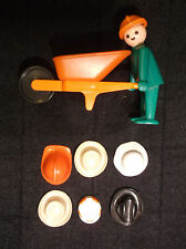 Geobra Wheelbarrow Man Cowboy Construction 7 Hats Etc. Accessories Lot c 1974