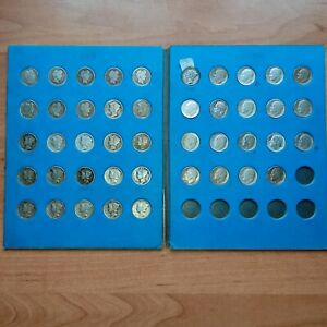 LOT OF (44) SILVER DIME- BARBER, MERCURY AND ROOSEVELT (1899-1963)