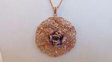 "Arte d'Argento 18K Rose Gold Sterling Lace Design Rose Pendant w 18"" Chain PURP"