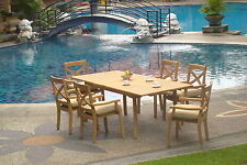 7 PC DINING TEAK STACKING CHAIRS PATIO FURNITURE NEW X02 - GRANADA COLLECTION