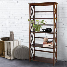5 Shelf Bookcase Bookshelf Tall Wide Display Farmhouse Solid Wood Brown