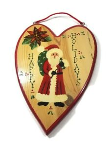 Vintage Happy Holidays Wooden Heart Shape Hanging Decor Handpainted
