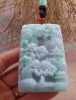 Certified Green Natural A Jade jadeite Pendant Landscape painting 山水画 519371