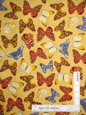 Butterfly Monarch Gold Cotton Fabric Benartex #4977M Forever Butterflies ~ YARD