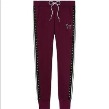 Victoria's Secret Pink S Sweat Pants Skinny Jogger Bling Sweats Maroon Pockets