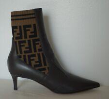 *BNIB* FENDI - Kitten Heel Leather and Knit Booties - 37.5