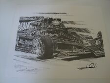 MARIO ANDRETTI ORIGINAL PENCIL DRAWING 1977 USGP WEST WINNER SIGNED BY ANDRETTI