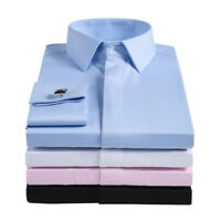 Mens Long Sleeves French Cuff Shirts Formal Business Work Dress Multicolor W6405