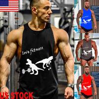 US Men Gym Singlet Tank Top Tee Stringer Bodybuilding Y-Back Muscle Fitness Vest
