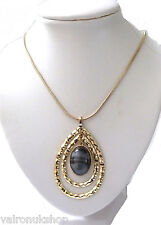 GOLD PLATED NECKLACE AND DOUBLE TEARDROP PENDANT WITH MOTTLED GREY STONE (dp)