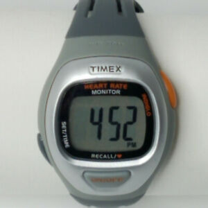 Timex Ironman Triathalon Mens WR30M Heartrate Monitor Sport Watch Gray T5G951