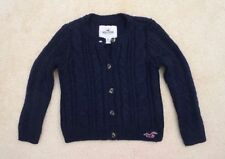 Hollister Womens Cropped Cable Knit Wool Cardigan Sweater Size XS Navy Blue