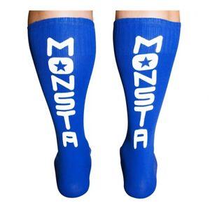Monsta Clothing Mid Calf Workout Training Socks 1 PACK Blue / White Bodybuilding