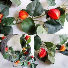 Efeu girlande Physalis 190cm Früchte Kunstpflanzen künstliches Efeu Herbst Deko