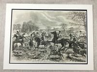 1855 Antique Print Fox Hunting Horse and Hounds British Country Sport John Leech
