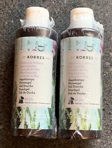 Korres SEA LAVENDER Shower Gel Body Wash Travel Size 2.7 oz  Sealed TWO BOTTLES