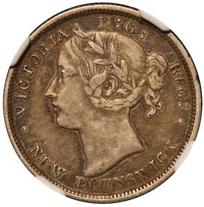 1864 Canada New Brunswick 20 Cents Silver Coin - NGC XF 40 - KM# 9