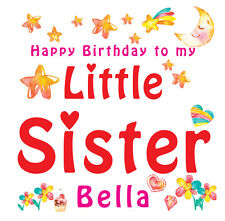 LITTLE SISTER_2 PERSONALISED BIRTHDAY CARD