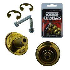 Dunlop Guitar Mount Straplocks Locking Strap Buttons (Flush Set Fitting) Brass