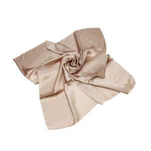 """Elegant Small Silk Feel Solid Color Satin Square Scarf 19.5"""" - Different Colors"""