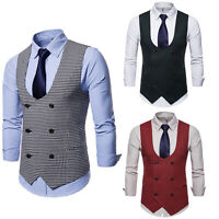 Mens Formal Casual Business Vest Suit Slim Prom Double-Breasted Plaid Waistcoat
