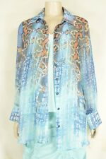 Mesmerize top shirt S sheer aqua orange long sleeve boyfriend summer cover USA