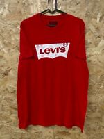 LEVI'S Mens Graphic Spellout Logo Top Short Sleeve Large Red Cotton Size Medium