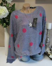 SHAGGY PULLOVER PLUSH KNITTED JUMPER DOTS PLUS SIZE VINTAGE PURPLE LILAC 38 40