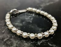 Lovely Vintage Faux Pearl and Silver Plated Beaded Bracelet Jewellery by Napier
