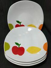Essential Home China Fruit Design Set of 4 Square Bowls Cereal Soup Shallow Bowl