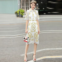 Womens Mid Long Dresses Lace Embroidery Occident Elegant Slim Fit Short Sleeves