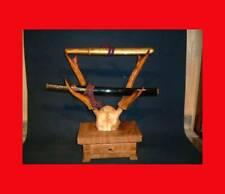 Katana Kake Japanese Antique Sword Stand Hunger Deer Antler Wooden table drawer