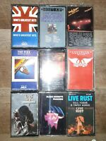 1970's & 1980's Rock,Various Bands/Artists Cassette Tapes Lot Of 9