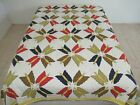 Vintage+Hand+Quilted+1980%27s+Cotton+BUTTERFLY+Applique+Quilt%3B+88%22+x+80%22
