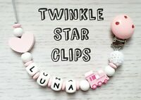 Personalised Wooden Dummy Clip Baby Pink Hearts Train Silicone Letters Crochet