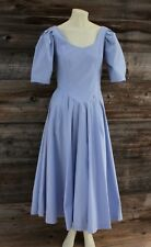 Vintage Laura Ashley Pale Blue Dress w Puffy Sleeves & Bustle Size 10