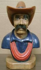 "Cowboy Bust, Hand Carved Wood, 14"" tall, sns22"
