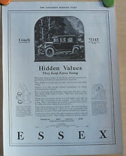 Vintage 1923 magazine ad for Essex autos - Hidden Values They keep Essex Young