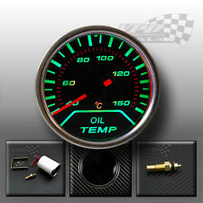 """Oil Temp Gauge green led chrome surround smoked dial face  52mm / 2"""""""