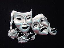 """JJ"" Jonette Jewelry Silver Pewter 'COMEDY & TRAGEDY' Pin Phantom Opera"